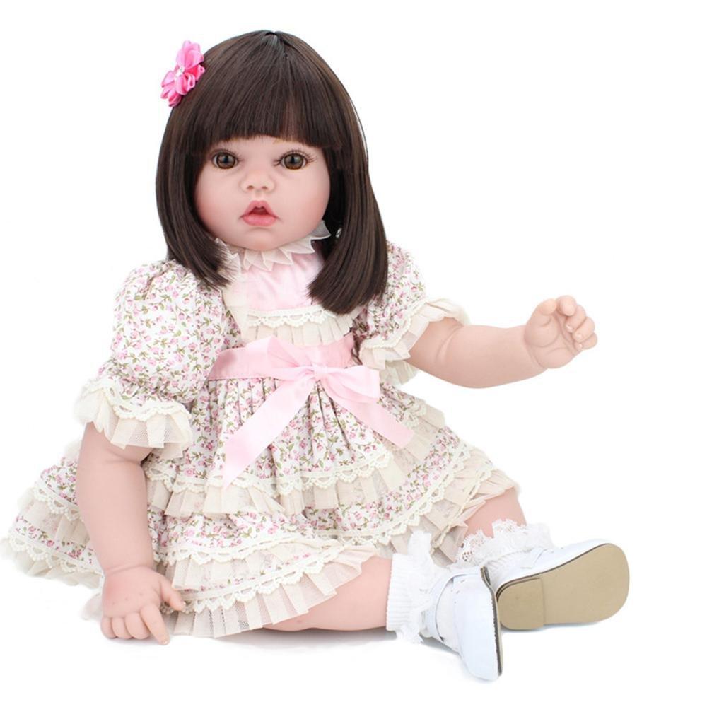 LINAG Muñeca Renacida Bebé Vinilo Silicona Suave Realista Fashion Juguetes Toque Cumpleaños Niña Lifelike Jugar Doll Casa Regalo Lindo Educación Temprana 50cm Doll-73262