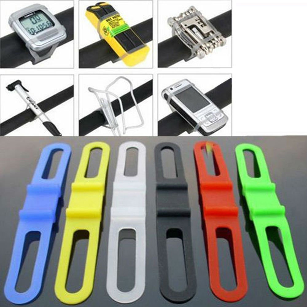 5 Pcs Silicone Gel Road Bike Mountain Bicycle Cycling Cycle Bike Phone Torch Light Pump Ipod Water Bottle Holder Strap Band (Yellow)