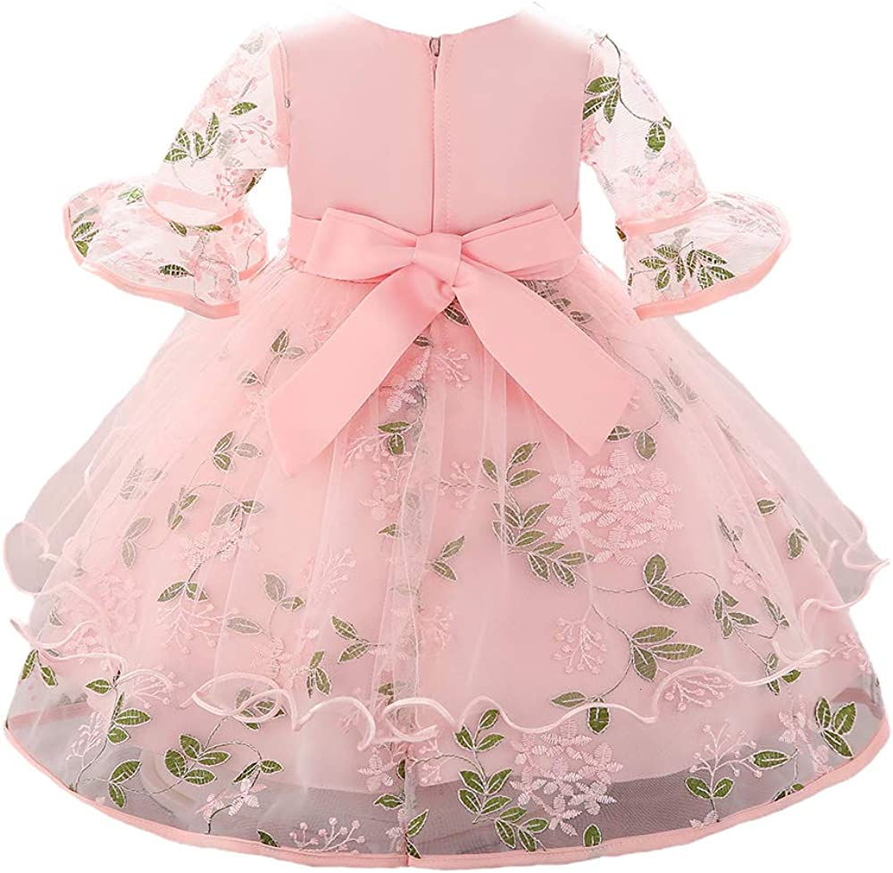 Myosotis510 Girls Christening Gown Lace Princess Wedding Dress Long Sleeve Formal Party Wear for Toddler Baby Girl