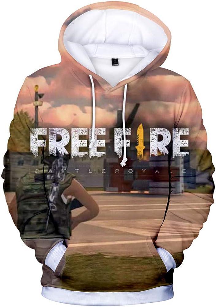 Bdfjhoiugk Free Fire Pullover Sweatshirt Digital Printing 3D Hooded Sweater Anime Pullover Long Sleeve Tops