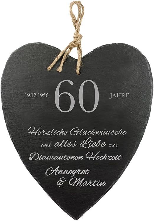 Casa Vivente Schieferherz Mit Gravur Zur Diamantenen Hochzeit Personalisiert Mit Namen Und Datum 60 Hochzeitstag Wanddeko Mit Juteband
