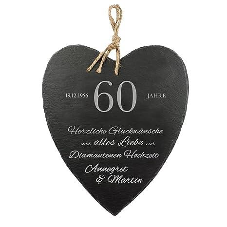 Casa Vivente Schieferherz Mit Gravur Zur Diamantenen Hochzeit Herzliche Glückwünsche Personalisiert Mit Namen Und Datum Wanddeko Mit Jute Band