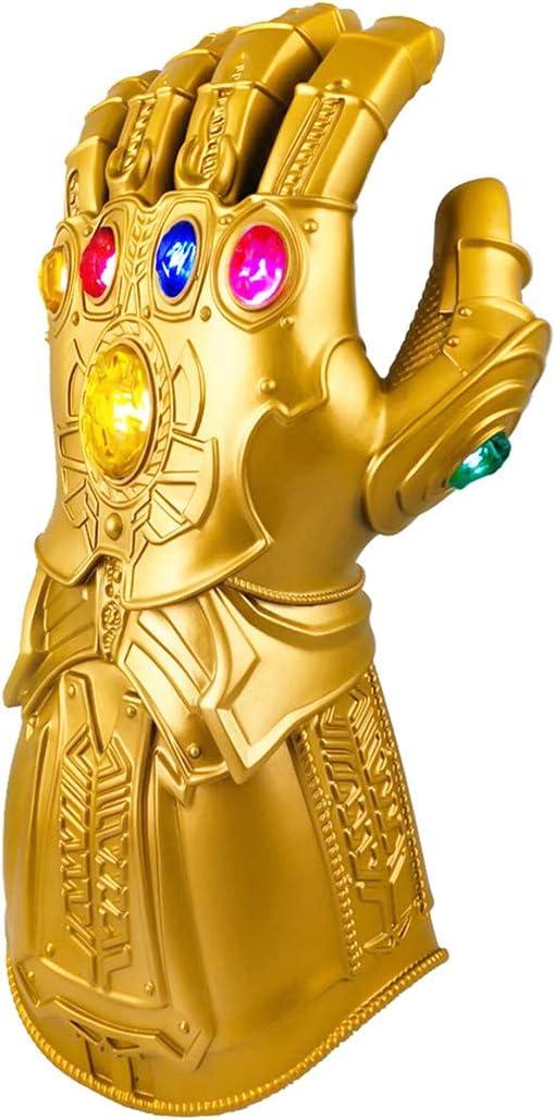 XXF Infinity Gauntlet Gloves Adult, PVC Infinity Glove led Infinity Stone Light Up Halloween Cosplay Prop. (Adult)