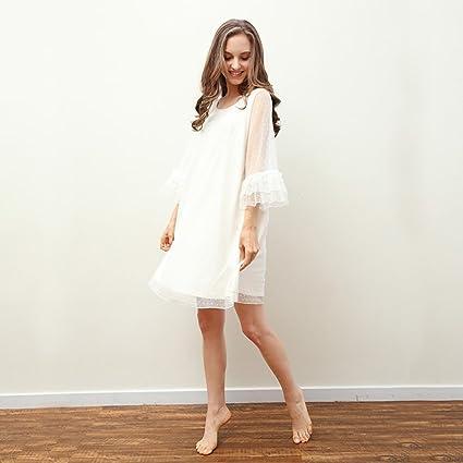Pijamas de dama sexy pijamas de primavera pijamas de vestir de casa blanco (Size :