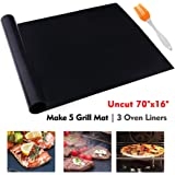 """Grill Mat Oven Liner 70""""x16"""" Non-Stick Reusable Barbecue BBQ Mat, Cut to Any Size, for Gas Grill, Charcoal, Electric Grill, Electric Oven, FDA Approved, Heat Resistant"""