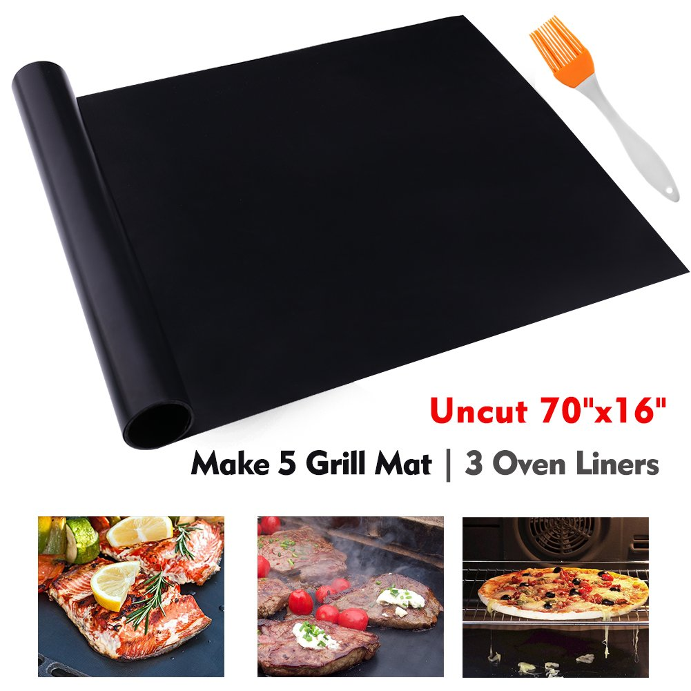 "CHERAINTI Grill Mat Oven Liner 70""x16"" Non-Stick Reusable Barbecue BBQ Mat, Cut to Any Size, for Gas Grill, Charcoal, Electric Grill, Electric Oven, FDA Approved, Heat Resistant"