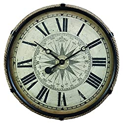 Derby Compass Decorative Wall Clock, Vintage Unique Wall Clock for Outdoor and Home Decor, Black - Large