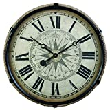 Pendulux Derby Compass Decorative Wall Clock, Vintage Unique Wall Clock for Outdoor and Home Decor, Black – Large