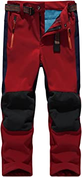 Sidiou Group Deporte al aire libre Pantalones de Trekking Niño Pantalones de Montaña Softshell Pantalones Impermeable Pantalones Senderismo Niña Pantalones de Escalada Chicas Pantalones Forro Polar (M 25