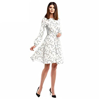 Women Mini Dress Hot Sale O-Neck Long Sleeve Printing Vestidos with Belt Spring Casual