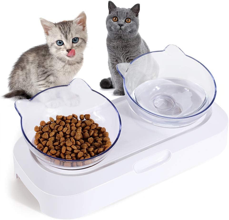 resistente e regolabile per alimenti per gatti ciotola per alimenti e acqua trasparente antiscivolo inclinata a 15 /° ciotola antiscivolo e antigoccia Ciotola per gatti doppia con supporto rialzato