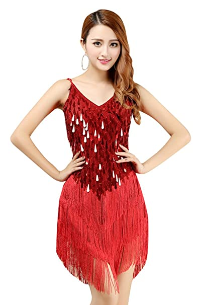 YiJee Mujer Vestido de baile Latino Elegante Borla Salsa Tango Vestido Rojo