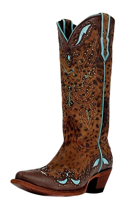 Cheetah Tan Turquoise Boots