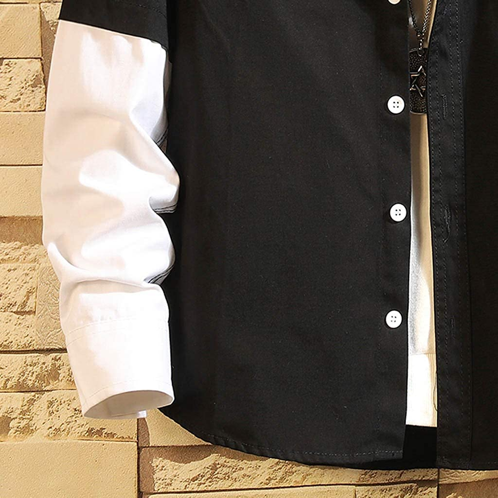 Mens Long Sleeve Shirt,Slim Fit Patchwork Casual Button Down Tops for Halloween