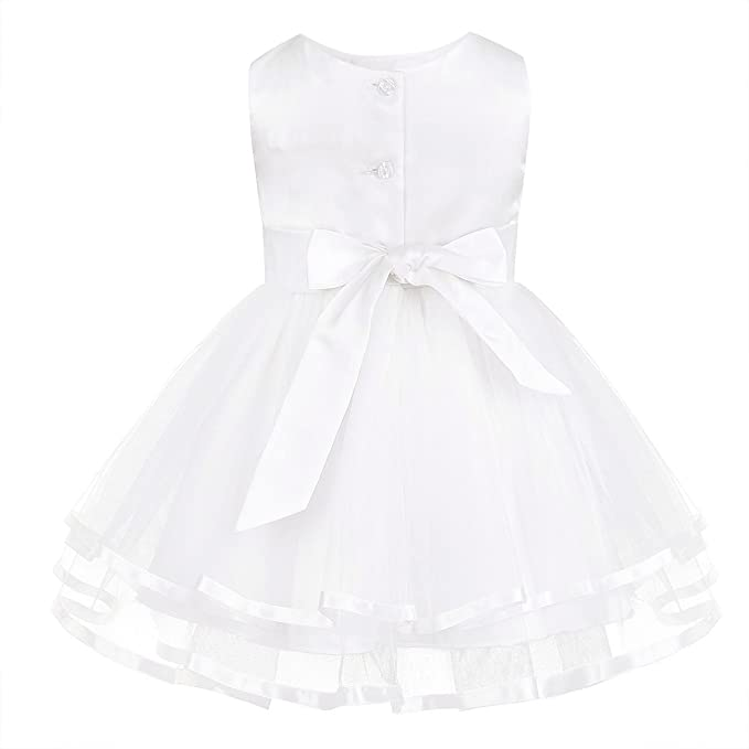 iEFiEL Baby Girls Lace Bowknot Flower Dress Wedding Pageant Baptism Christening Tutu Gown