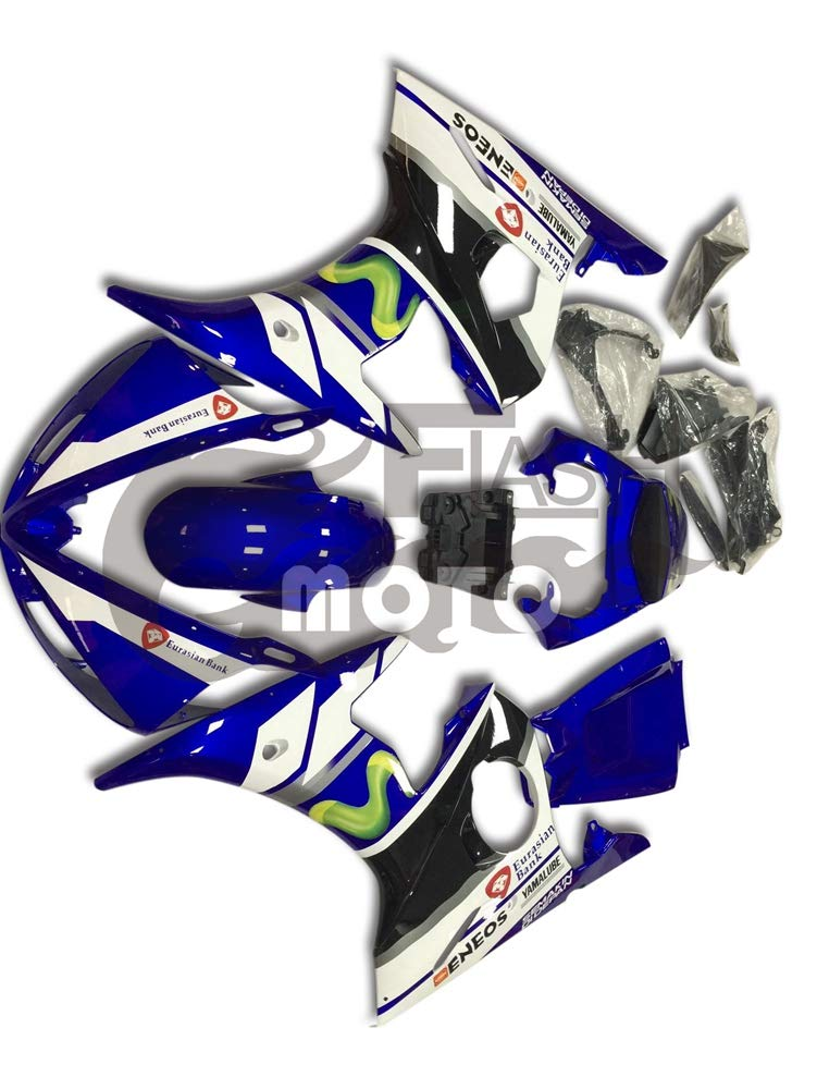 FlashMoto yamaha ヤマハ YZF-600 R6 2005用フェアリング 塗装済 オートバイ用射出成型ABS樹脂ボディワークのフェアリングキットセット (ブルー,ホワイト)   B07LF24L76