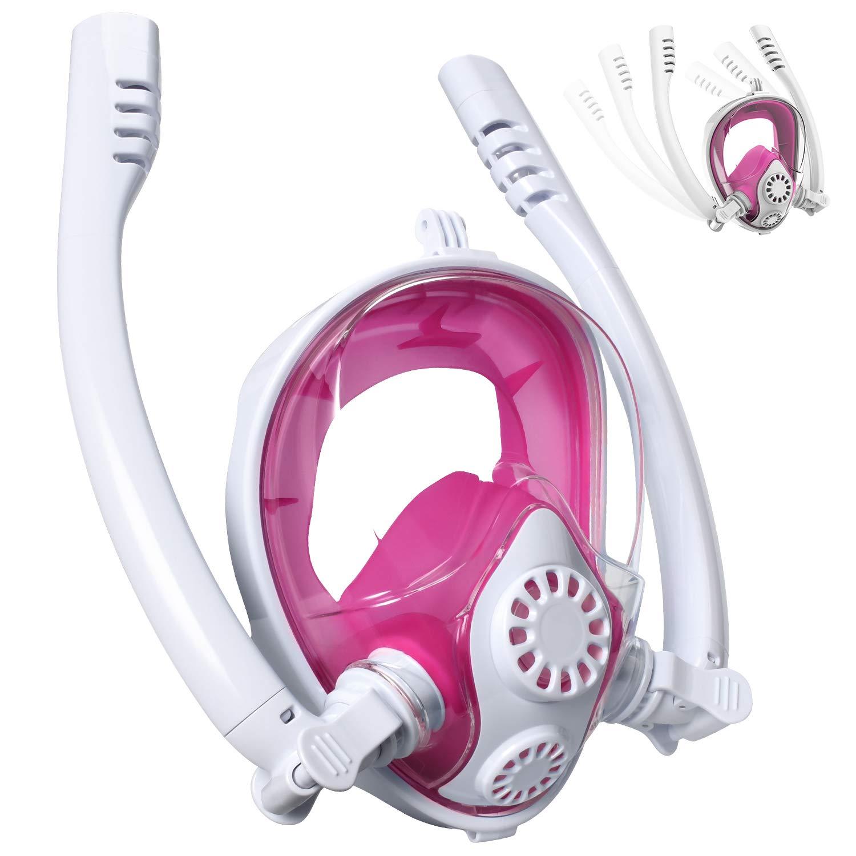 Cevapro Snorkel Mask Full Face, Safe K2 Breathing System Full Face Snorkeling Mask for Natural Breath & Safe Snorkeling Anti Leak Anti Fog Diving Mask Dry Snorkel set for Kids Adult (White-Pink, L/XL) by Cevapro