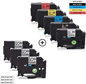 COLORWING Compatible Label Tape Replacement for Brother P-Touch TZe TZ Tape 0.47