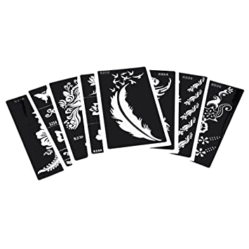 Amazon.com  8 Sheets Tattoo Stencil Hollow Drawing Black
