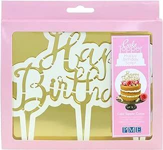 PME CTHB01 Cake Topper Cutter-Happy Birthday Script, Standard, White