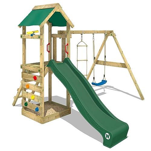 WICKEY Aire de jeux FreeFlyer Portique de jeux en bois Cabane pour enfants avec balançoire, toboggan vert, mur d'escalade, échelle de cordes et bac à sable + Accessoires