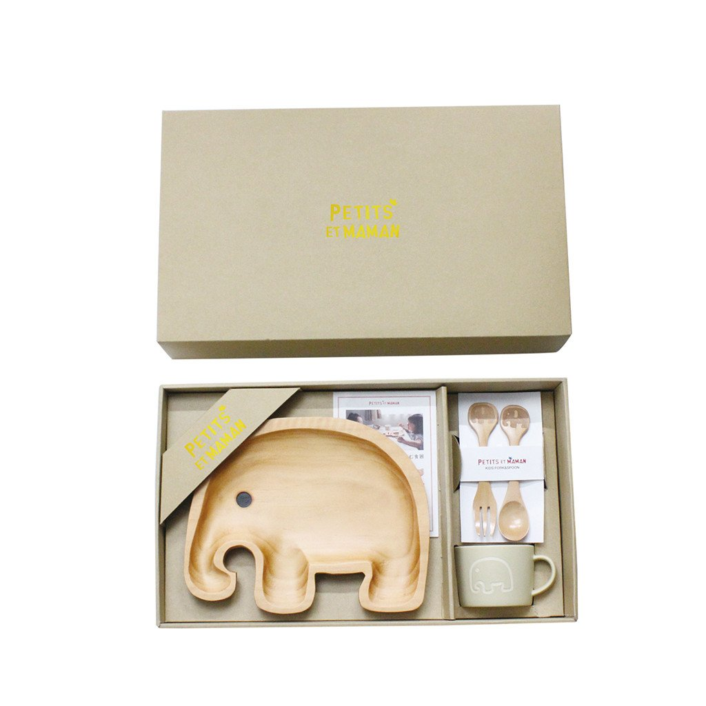 Time Concept Petits Et Maman Wooden Dinnerware Gift Set for Kids - Elephant