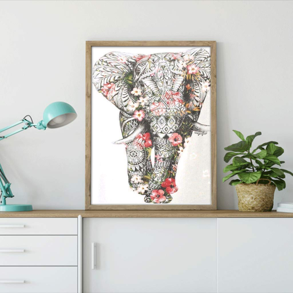 Diamond Painting Kits for Kids,Diamond Painting Kits for Adults Flower Elephant Rhinestone Embroidery Cross Stitch Kits Supply Arts Craft Canvas Wall Decor Stickers Home Decor 12x16 inches