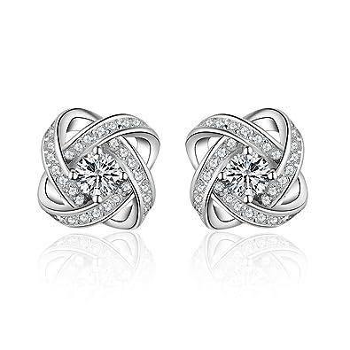 Meyiert Jewellery 925 Sterling Silver Cubic Zirconia Sparkling Stud Earrings for Women TZ88CCxyY