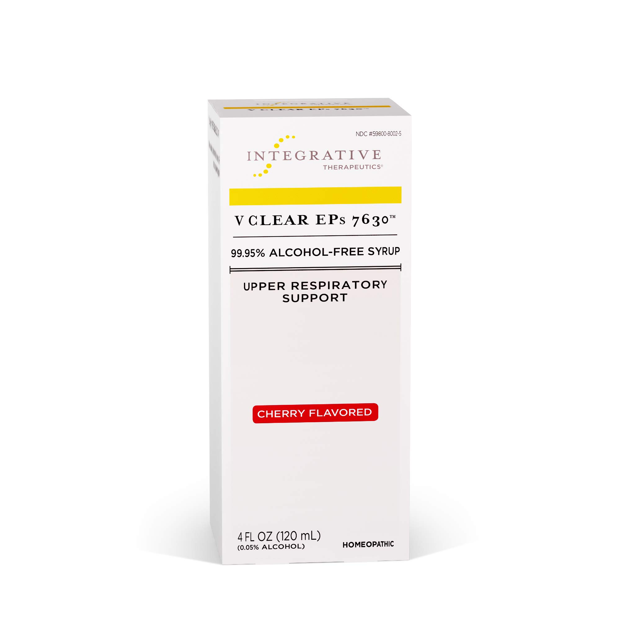 Integrative Therapeutics - V Clear EPs 7630 - Homeopathic Cold Medicine - Upper Respiratory and Lung Health Support - 99.95% Alcohol-Free Syrup - Cherry Flavored for Children and Adults - 4 fl oz by Integrative Therapeutics