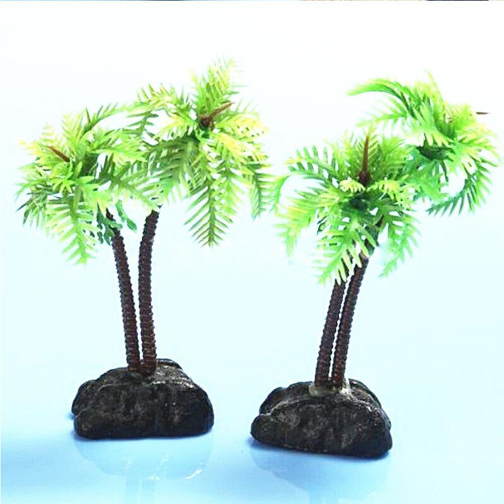 Leegoal Plantas artificiales de agua para acuario, plástico, árbol de coco, planta decorativa para acuario, pecera, palma, árbol, pecera, decoración de ...