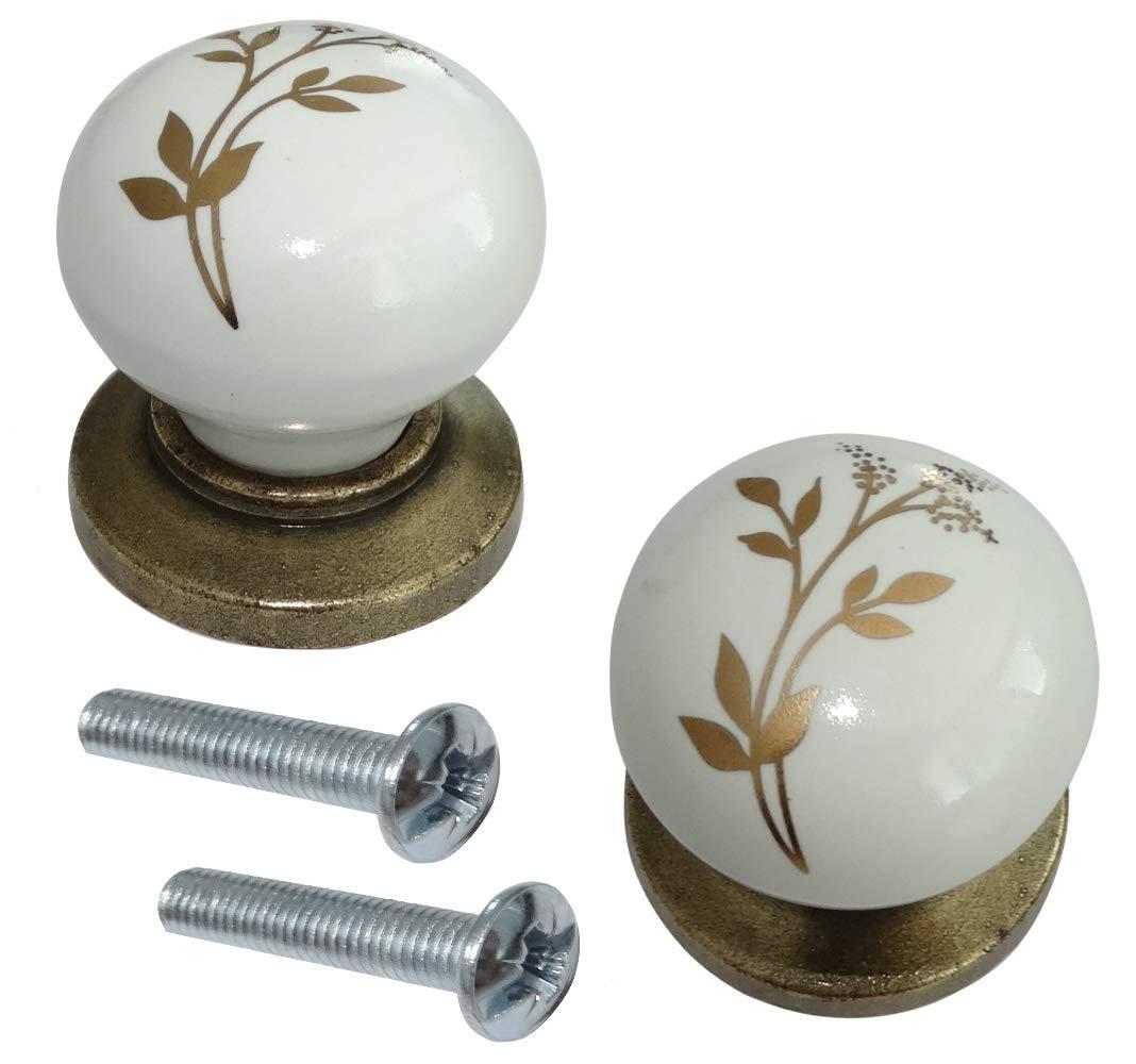 AERZETIX Tirador bot/ón para caj/ón alacena puerta mueble armario Ebre oro cer/ámico 33mm 2 piezas