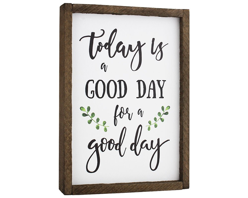 Elegant Signs Today Is A Good Day For A Good Day Funny Framed Wood Sign Rustic Funny Sign Rustic wall art Gift for Friend (7 x 9) by Elegant Signs