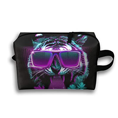 ae7a06e1e94 durable service Cool Tiger With Sunglasses Travel Bag Cosmetic Bags Brush  Pouch Portable Makeup Bag Zipper