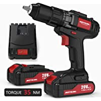 Meterk 20V Cordless Electric Drill Driver with 2-Pieces Li-Ion Batteries and Torque 35N.m,1H Fast Charger