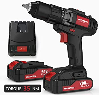 Meterk 20V Cordless Electric Drill Driver with 2-Pieces Li-Ion Batteries