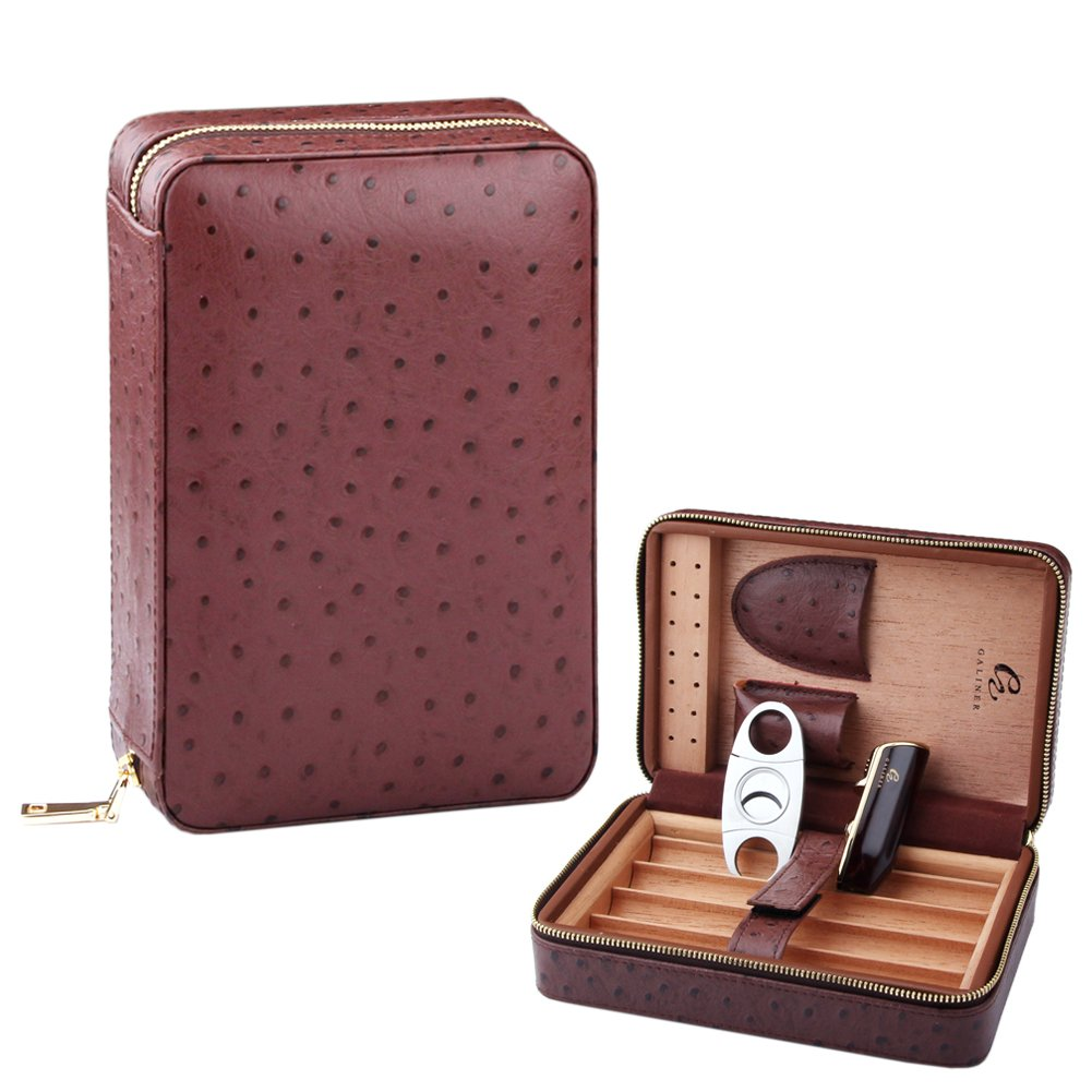 GALINER Humidor, Cedar Wood Genuine Leather Cigar Case Travel Cigar Humidor with Lighter Cutter Humidifier