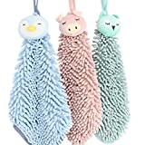 WINGOFFLY 3pcs Absorbent Hand Towel Set Chenille Microfiber Soft Kitcken Wash Towel with Rope Hanging, Pig + Owl + Penguin
