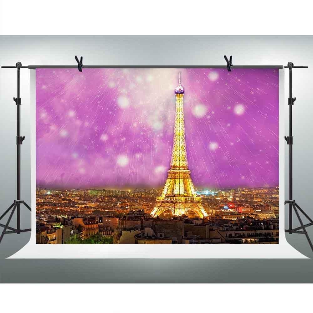 FHzON 10 x 7ft Golden Eiffel Tower背景写真ピンクスカイMeteorバックドロップYoutubeテーマパーティー壁紙デコレーションBackdrops Studio Props lxfh253   B07FZV3ZWQ