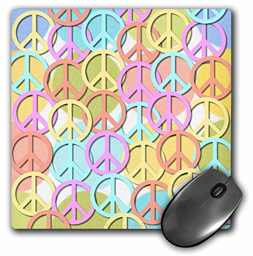 Lee Hiller Designs 60s Retro - Retro 60s Pastel Peace Signs on Pastel Dots - MousePad (mp_53213_1)
