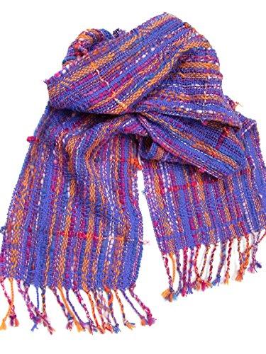 Wool winter shawl purple blue orange shawl hand woven shawl winter scarf fringed shawl fashion accessories handmade gift for her woman scarf