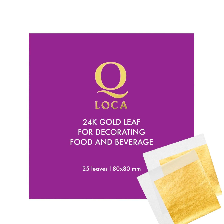 Q-loca 24K Edible Gold Leaf Transfer Sheets, Wedding Cake 25 Sheets, 80x80 mm