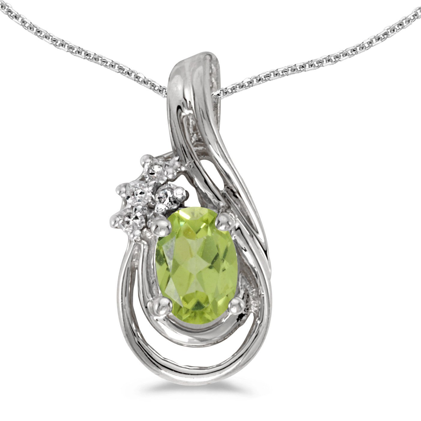 1//3 Cttw. FB Jewels Solid 14k White Gold Genuine Birthstone Oval Gemstone And Diamond Teardrop Pendant