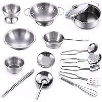 لعبة طقم ادوات الطبخ والمطبخ من 16 قطعة من الستانلس ستيل، العاب مطبخ لتقمص الادوار