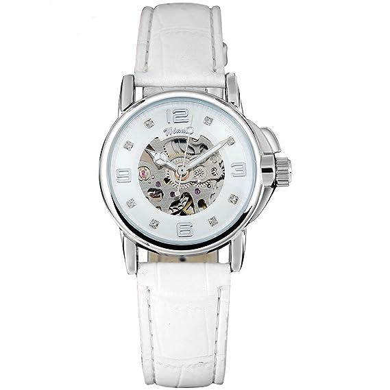 Winner mujeres relojes esqueleto reloj mecánico banda de cuero blanco señoras Simple moda casual reloj