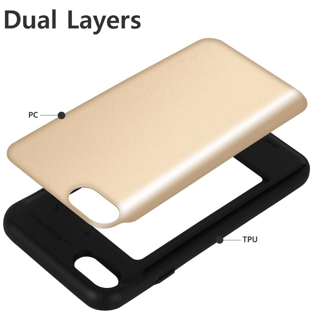 Iphone 8 Case 7 Mercury Sliding Card Goospery Sky Slide Bumper Gold Holder Protective Dual Layer Tpu Pc Cover With Slot Wallet For