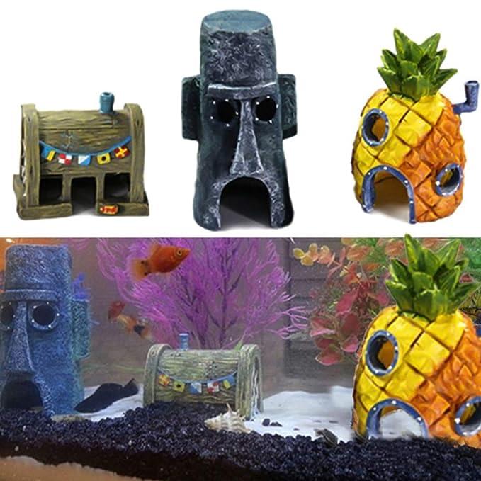 OPSLEA Durable Resina Acuario Peces Tanque paisajismo Dibujos Animados Adornos de Pescado camarón Dodge decoración: Amazon.es: Productos para mascotas
