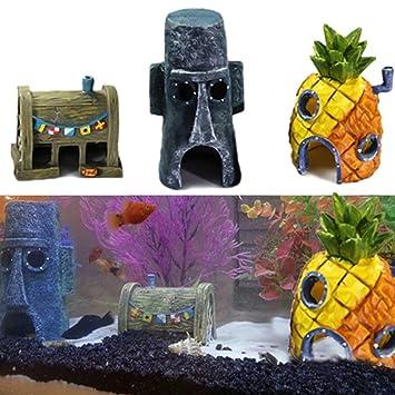 Delleu Durable Resina Acuario Peces Tanque paisajismo Dibujos Animados Adornos de Pescado camarón Dodge decoración: Amazon.es: Productos para mascotas
