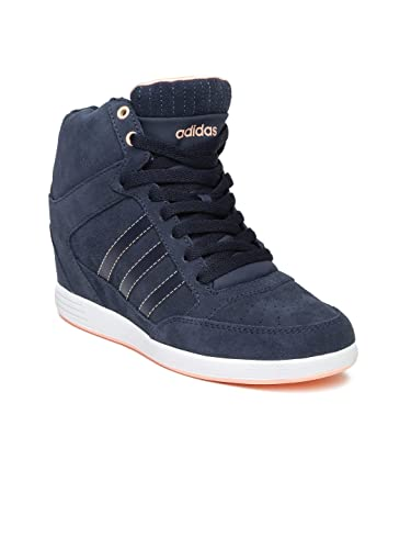 adidas neo Women Navy Super Wedge Suede Sneakers