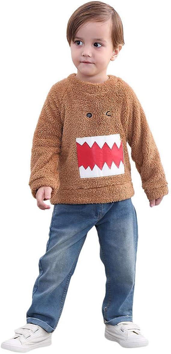 Kaicran Unisex Baby Boy Girl Long Sleeve Fleece Autumn Winter Tops with Shark Teeth Printing