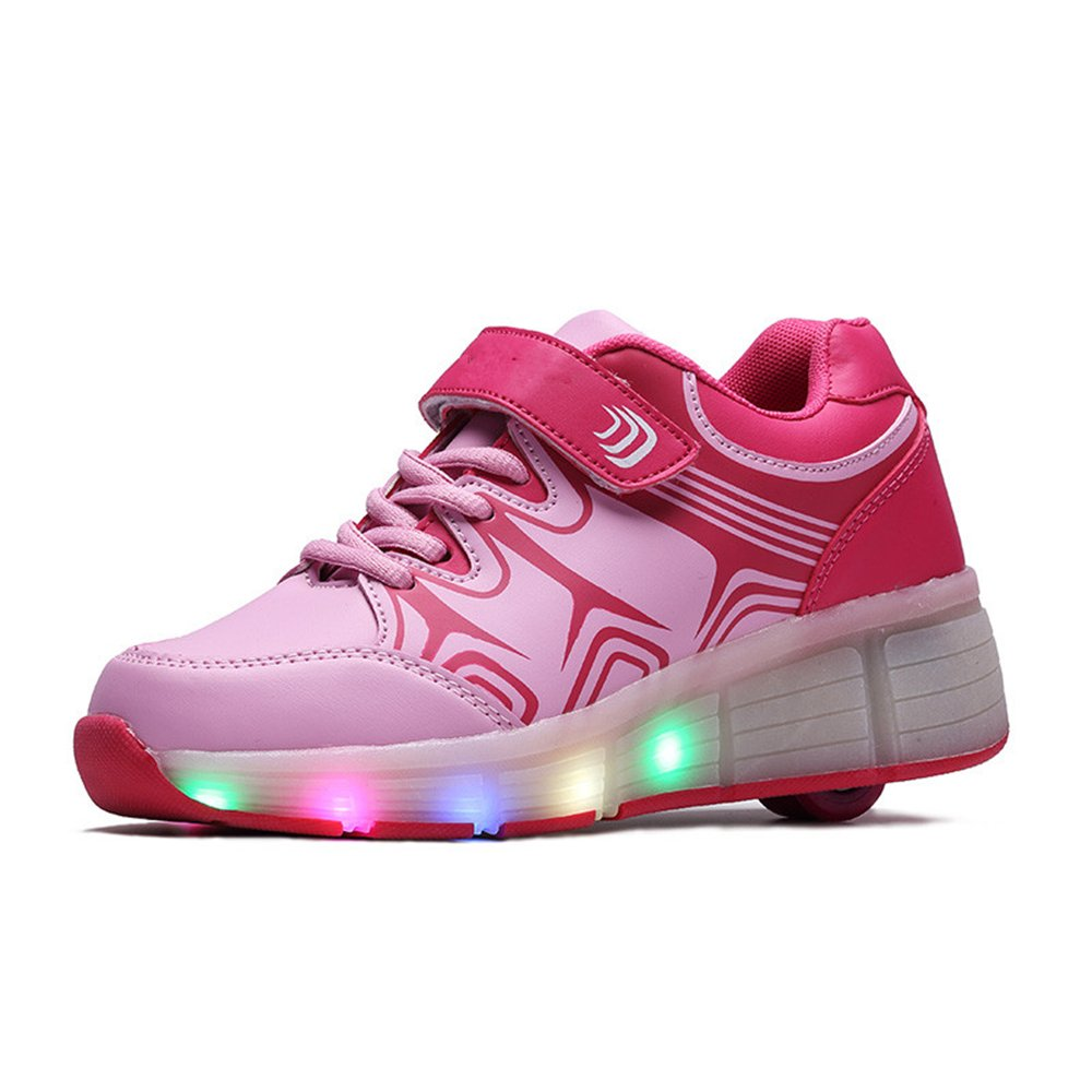 LED Light Up Sneakers Single Wheel Roller Skate Shoes Kids Boys Girls